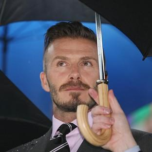 David Beckham at the torch handover in Athens
