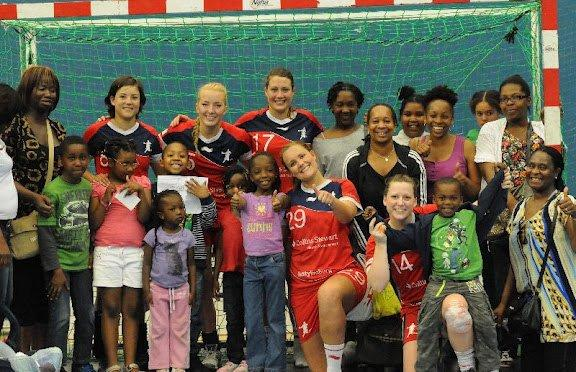 Children on Sage Educational's Trust Mend course meet Team GB handball team
