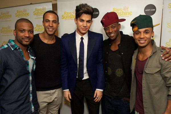 Rays of Sunshine ambassadors JLS with Adam Lambert (centre)