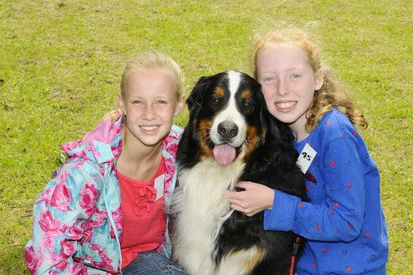 Emma Underwood 9 and Joan Whybrow 10 with Buffy the Bernese Mountain dog, from Bexley, entered for the Cougar category