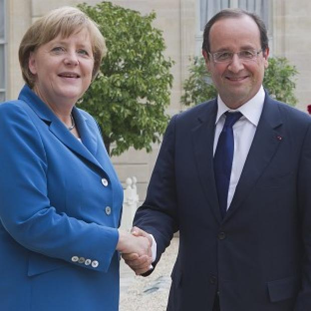 German chancellor Angela Merkel and French president Francois Hollande have failed to agree on a balance between austerity and growth (AP)