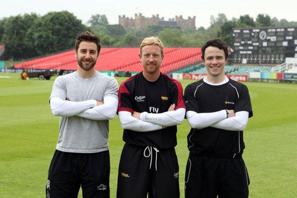 Mike Field (l), Paul Collingwood and Jack Thomas