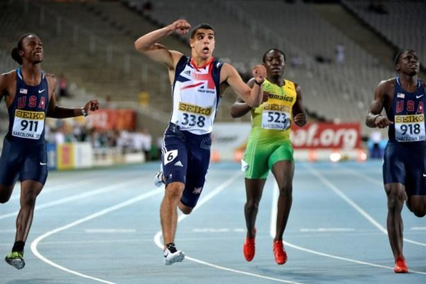 Adam Gemili as he wins the men's 100m at the World Junior Championships.