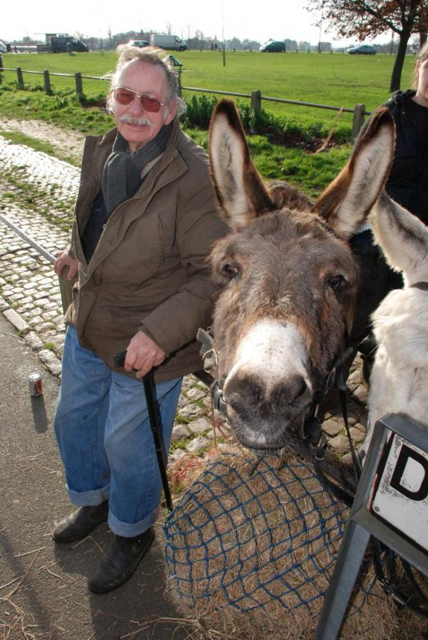 Len Thorne with one of his donkeys