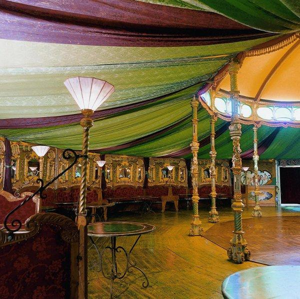 The interior of a Spiegeltent where the Big Conversation is happening