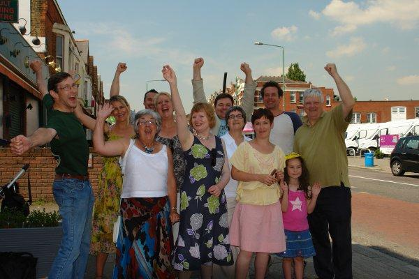 Celebrations in Sydenham on winning a government funding bid