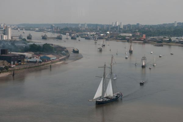 The flotilla passing through the Thames Barrier last year (pic by Port of London Authority)