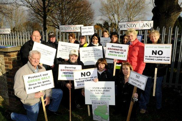 Protests in December last year against proposed developments on the greenbelt.