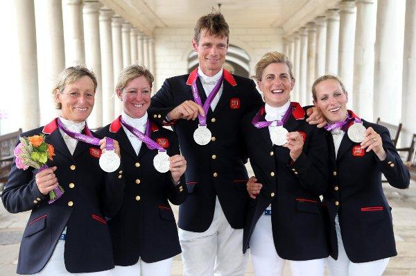 Riders claim silver at Greenwich Park (left to right:) Mary King, Nicola Wilson, William Fox-Pitt, Tina Cook and Zara Phillips