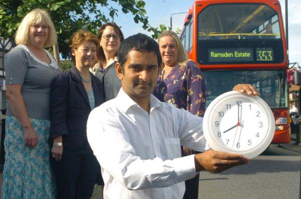 Oliver Pereira with clock committee members at the spot where they hope the clock will be installed