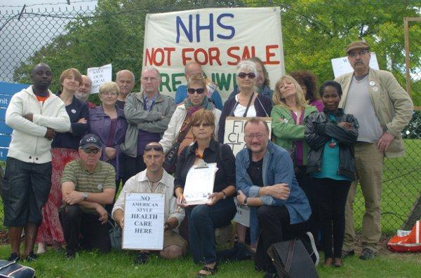 Protesters fight for NHS future outside Queen Elizabeth Hospital