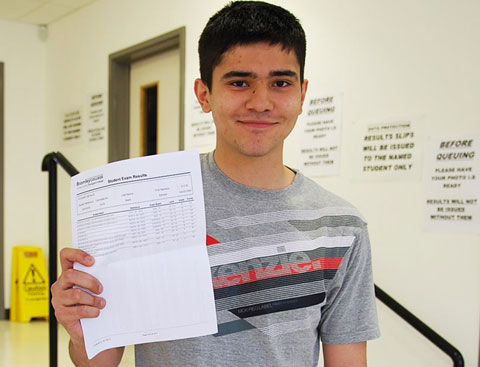 Sameer Malik with his A-Level results at Bromley College