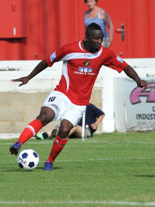 Moses Ashikodi (above) scored the winner at Woking. PICTURE BY KEITH GILLARD.