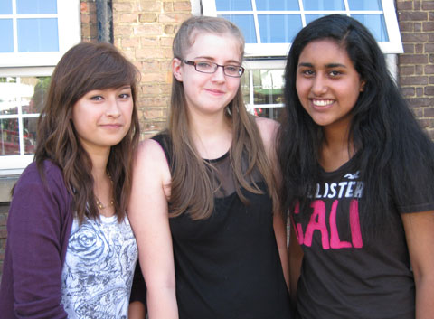 Mayfield Grammar School pupils Lydia Bailey, Tiffany Spencer and Kirendeep Dosanjh