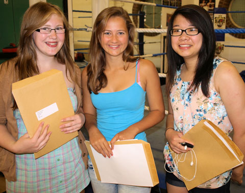 Jodie Cummings, Megan Heywood and Kin Yi Chung from the Priory School in Orpington