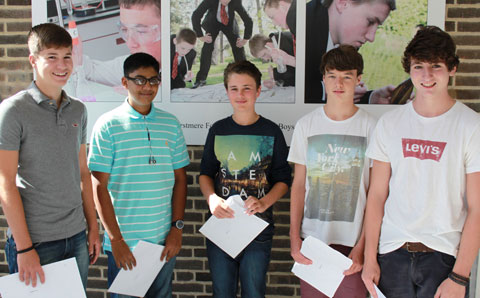 Hurstmere School pupils William Powell (15), Sachin Patel (16), Callum Eden (16), Matthew Appleton (16) and James Barlow (16)