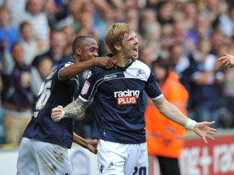 Andy Keogh celebrates his first goal on Saturday. PICTURE BY KEITH GILLARD.