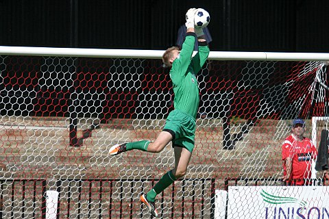Keeper Joe Welch makes a comfortable save