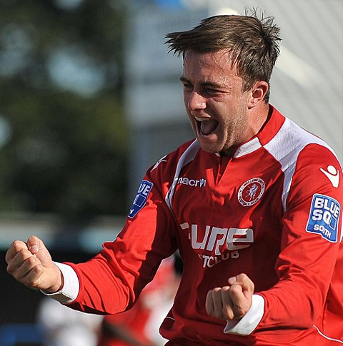 Debutant Jake Gallagher celebrates scoring his first goal for Welling