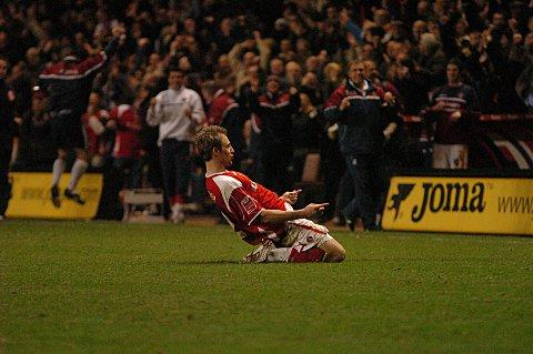 Luke Varney celebrates scoring for the Addicks in their 2-0 win over Palace in 2008