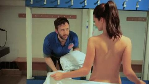 IT Crowd actor Chris O'Dowd playing a man with the best job in the world at the Topless Female Trampolining World Championships