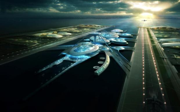 An artist's impression of the airport