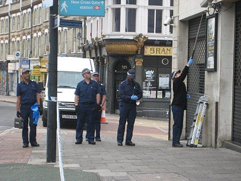 Forensics officers looking for evidence outside The Venue