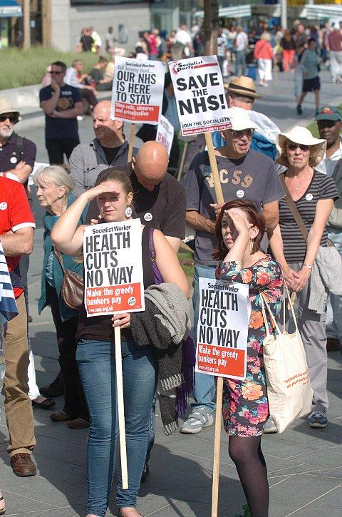 Protesters who fear for the NHS future led a 350-strong march on Saturday