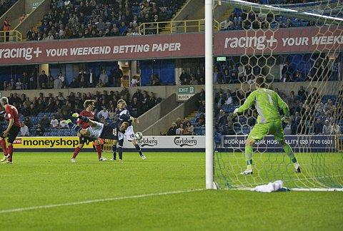 Debutant substitute Chris Wood has an acrobatic shot. ALAN STANFORD.