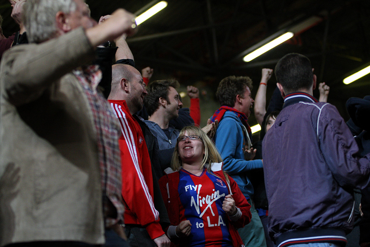 Palace fans celebrate Friday's win at The Valley. PICTURE BY EDMUND BOYDEN.