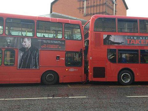 Picture of the bus collision sent in from Olly Groome