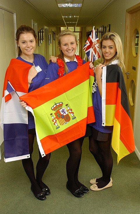 Language ambassadors Sophie Simpson, Alice Myers and Rebecca Knight