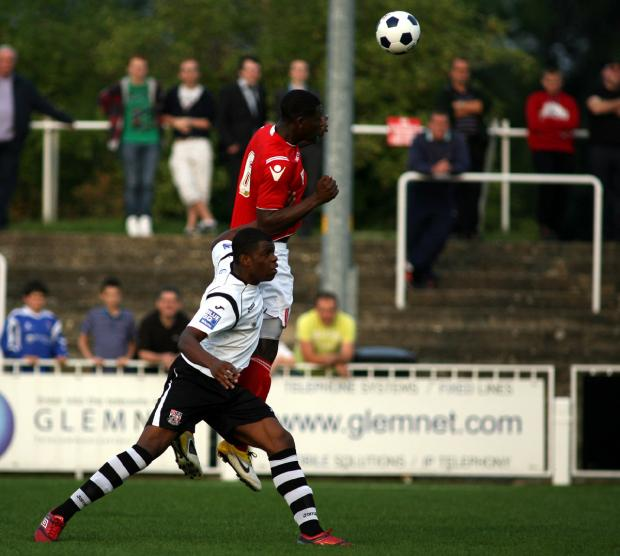Yado Mambo wins a header at Bromley last pre-season. PICTURE BY EDMUND BOYDEN.