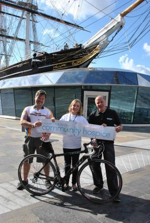 Pictured from left to right is Nigel Hill from Sidcup Cycle Centre, Claire Rogers from Greenwich & Bexley Community Hospice and Terry Mathis from Wheelies Cycle Centre