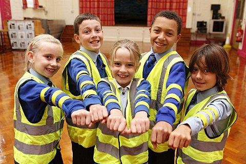 L-R Raglan pupils Leah, 8, Charlie, 10, Hannah, 8, Myles ,10, and Harrison, 9.