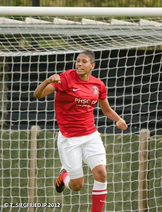 Gemma Bryan celebrates one of her three goals against Pompey