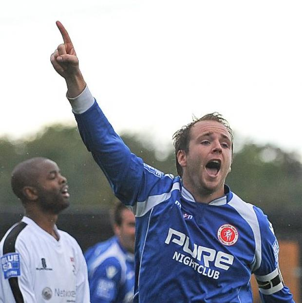 Lee Clarke celebrates making it 2-0. PICTURE BY DAVE BUDDEN.