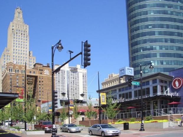 "Kansas City's ""power and light district"", visited by SLHT managers during the Cerner conference."