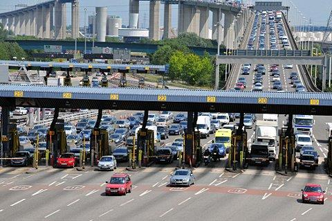 The M25 was closed just metres from the Dartford Tunnel.