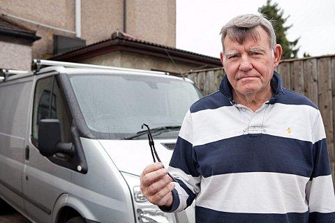 Kevin May in Crayford with his Ford Transit and wiring chewed by foxes.