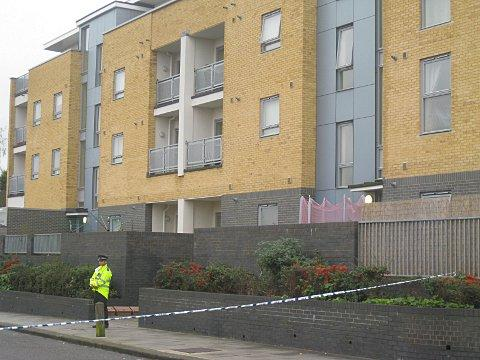 Police at the block of flats in Kingsley Wood Drive earlier today