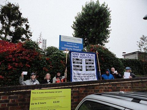 Campaigners outside the hospital in Farnborough