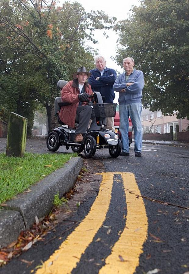 Double trouble: Keary Road residents Peter Langford, David Bennett and Brian Martin.