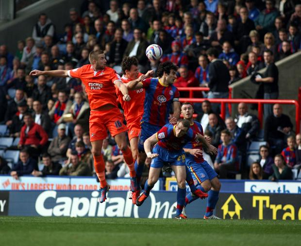 Mark Beevers (left) wins a header against Palace. PICTURE BY EDMUND BOYDEN.
