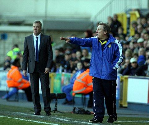 Kenny Jackett on the touchline with opposite number Neil Warnock. PICTURE BY EDMUND BOYDEN.