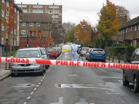 Forensics at the scene of the shooting on Lord Warwick Street