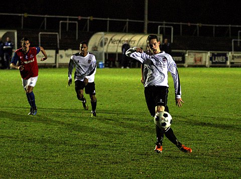 News Shopper: Mike Jones hits the post from the penalty spot