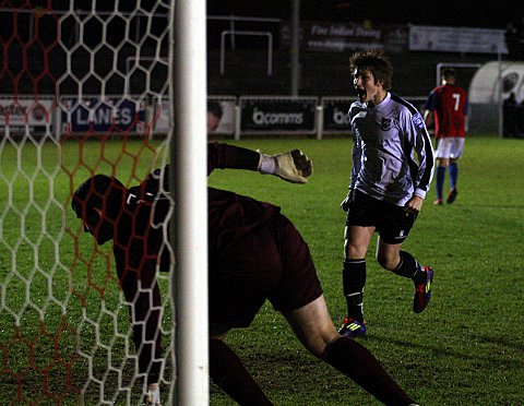 News Shopper: Harry Harding celebrates after making it 3-1 from the spot