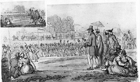 Competitive walking on the Heath, drawn around 1795 by Thomas Rowlandson, picture courtesy of Blackheath Society