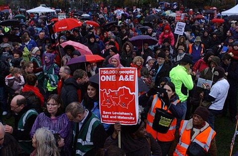 Thousands of people marching against proposals to close Lewisham Hospital A&E